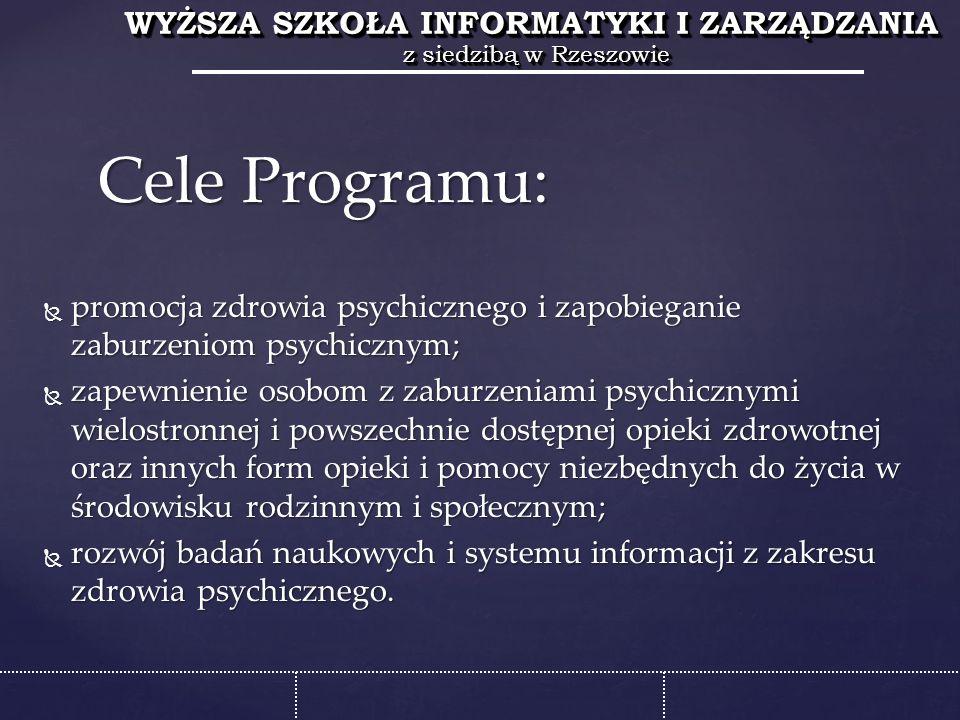 WYŻSZA SZKOŁA INFORMATYKI I ZARZĄDZANIA z siedzibą w Rzeszowie WYŻSZA SZKOŁA INFORMATYKI I ZARZĄDZANIA z siedzibą w Rzeszowie  promocja zdrowia psychicznego i zapobieganie zaburzeniom psychicznym;  zapewnienie osobom z zaburzeniami psychicznymi wielostronnej i powszechnie dostępnej opieki zdrowotnej oraz innych form opieki i pomocy niezbędnych do życia w środowisku rodzinnym i społecznym;  rozwój badań naukowych i systemu informacji z zakresu zdrowia psychicznego.