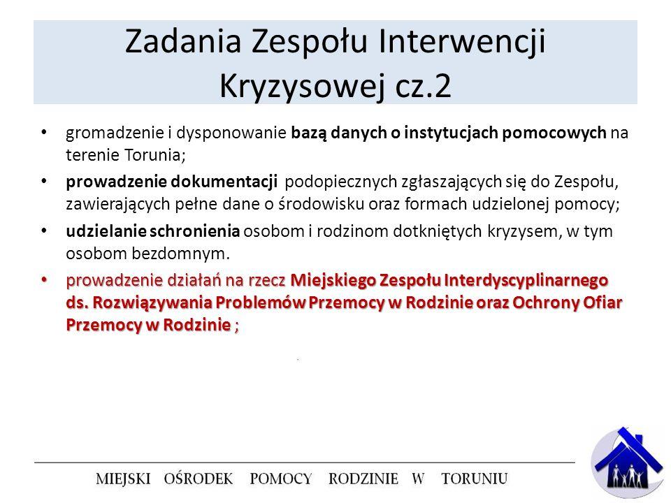 Zadania Zespołu Interwencji Kryzysowej cz.2 gromadzenie i dysponowanie bazą danych o instytucjach pomocowych na terenie Torunia; prowadzenie dokumenta