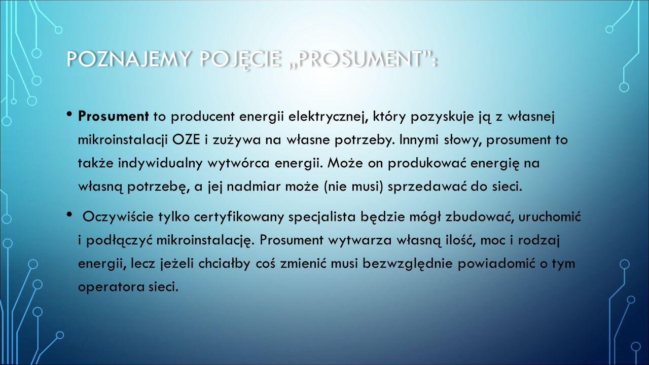 """POZNAJEMY POJĘCIE """"PROSUMENT"""": Prosument to producent energii elektrycznej, który pozyskuje ją z własnej mikroinstalacji OZE i zużywa na własne potrze"""