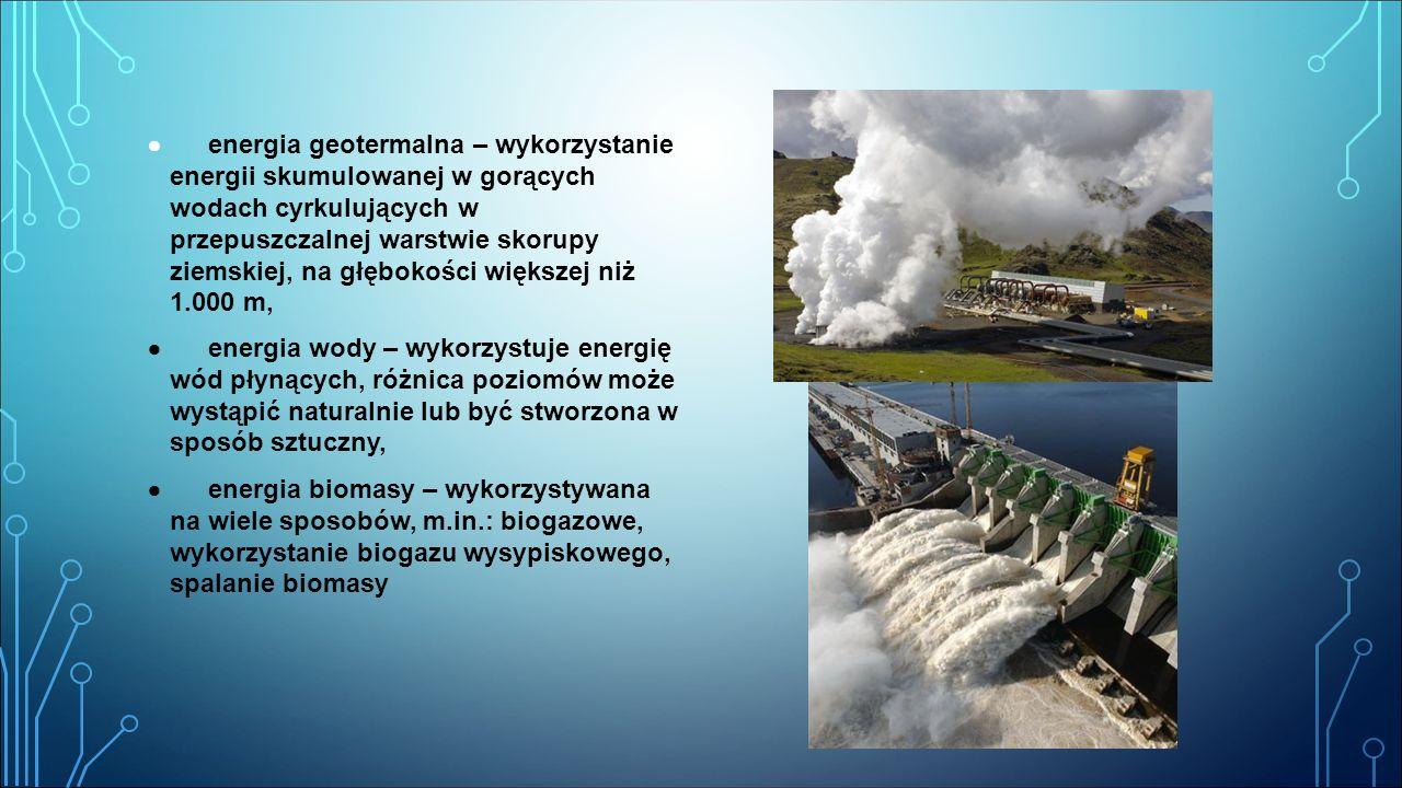  energia geotermalna – wykorzystanie energii skumulowanej w gorących wodach cyrkulujących w przepuszczalnej warstwie skorupy ziemskiej, na głębokości