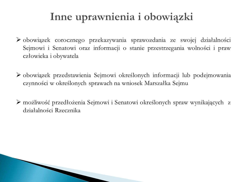  obowiązek corocznego przekazywania sprawozdania ze swojej działalności Sejmowi i Senatowi oraz informacji o stanie przestrzegania wolności i praw cz