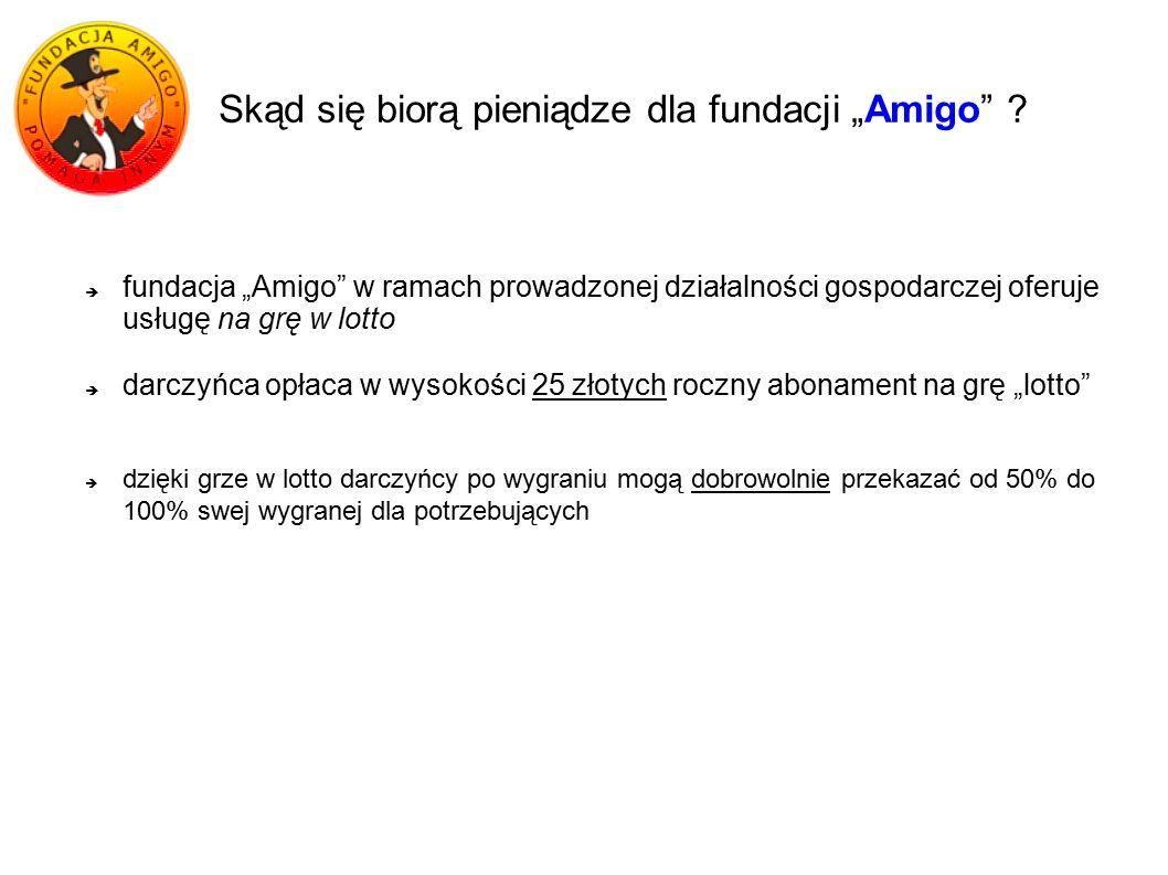 """Skąd się biorą pieniądze dla fundacji """"Amigo"""" ?  fundacja """"Amigo"""" w ramach prowadzonej działalności gospodarczej oferuje usługę na grę w lotto  darc"""