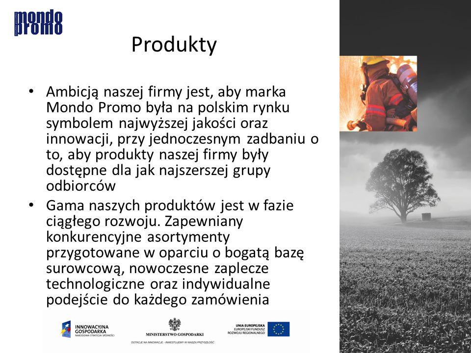 Produkty Ambicją naszej firmy jest, aby marka Mondo Promo była na polskim rynku symbolem najwyższej jakości oraz innowacji, przy jednoczesnym zadbaniu o to, aby produkty naszej firmy były dostępne dla jak najszerszej grupy odbiorców Gama naszych produktów jest w fazie ciągłego rozwoju.