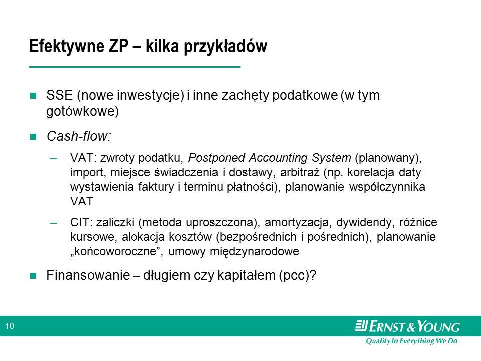 10 Efektywne ZP – kilka przykładów SSE (nowe inwestycje) i inne zachęty podatkowe (w tym gotówkowe) Cash-flow: –VAT: zwroty podatku, Postponed Account