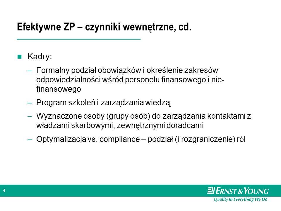 4 Efektywne ZP – czynniki wewnętrzne, cd. Kadry: –Formalny podział obowiązków i określenie zakresów odpowiedzialności wśród personelu finansowego i ni
