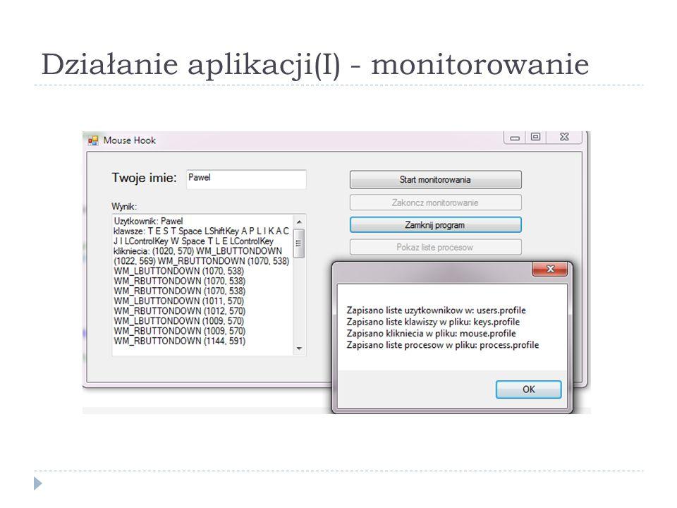 Działanie aplikacji(I) - monitorowanie