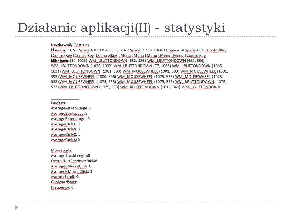 Działanie aplikacji(II) - statystyki