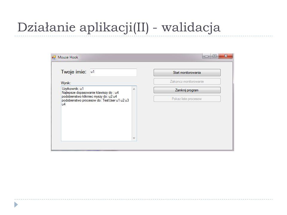 Działanie aplikacji(II) - walidacja