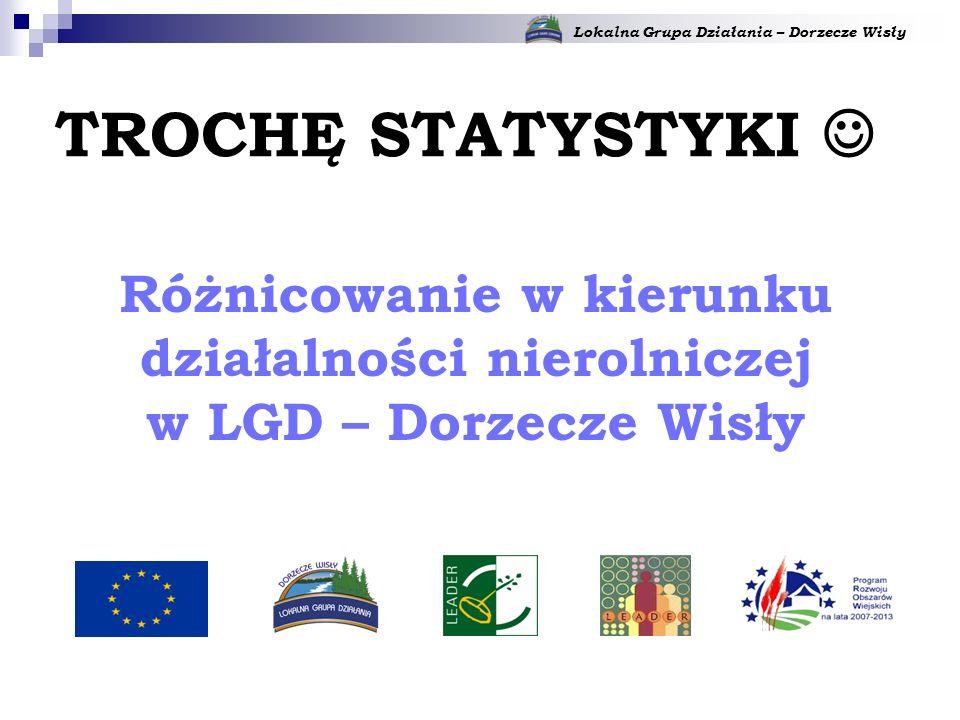 Lokalna Grupa Działania – Dorzecze Wisły Różnicowanie w kierunku działalności nierolniczej w LGD – Dorzecze Wisły TROCHĘ STATYSTYKI