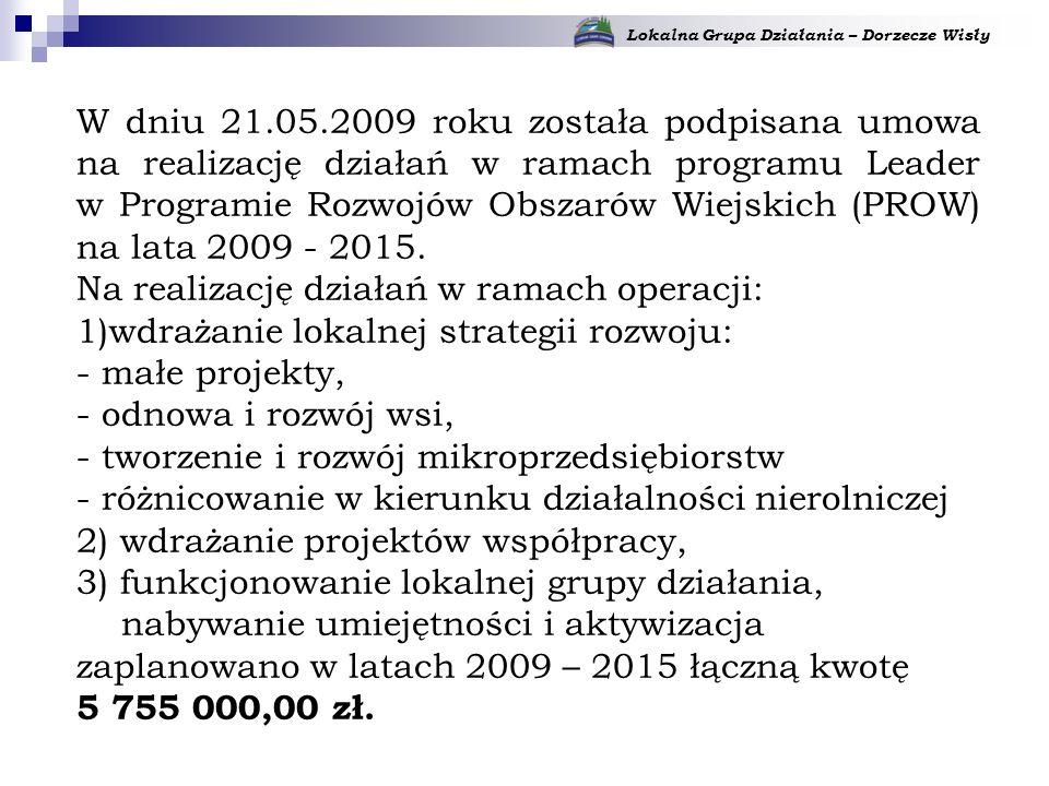 Lokalna Grupa Działania – Dorzecze Wisły W dniu 21.05.2009 roku została podpisana umowa na realizację działań w ramach programu Leader w Programie Rozwojów Obszarów Wiejskich (PROW) na lata 2009 - 2015.