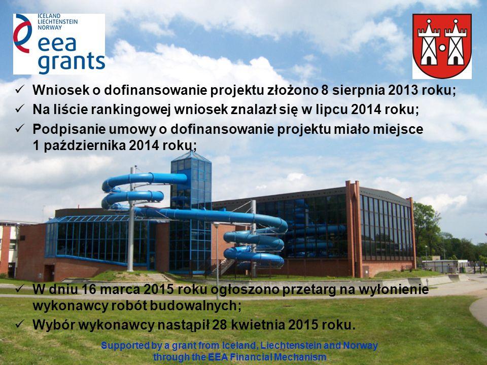 Wniosek o dofinansowanie projektu złożono 8 sierpnia 2013 roku; Na liście rankingowej wniosek znalazł się w lipcu 2014 roku; Podpisanie umowy o dofinansowanie projektu miało miejsce 1 października 2014 roku; W dniu 16 marca 2015 roku ogłoszono przetarg na wyłonienie wykonawcy robót budowalnych; Wybór wykonawcy nastąpił 28 kwietnia 2015 roku.