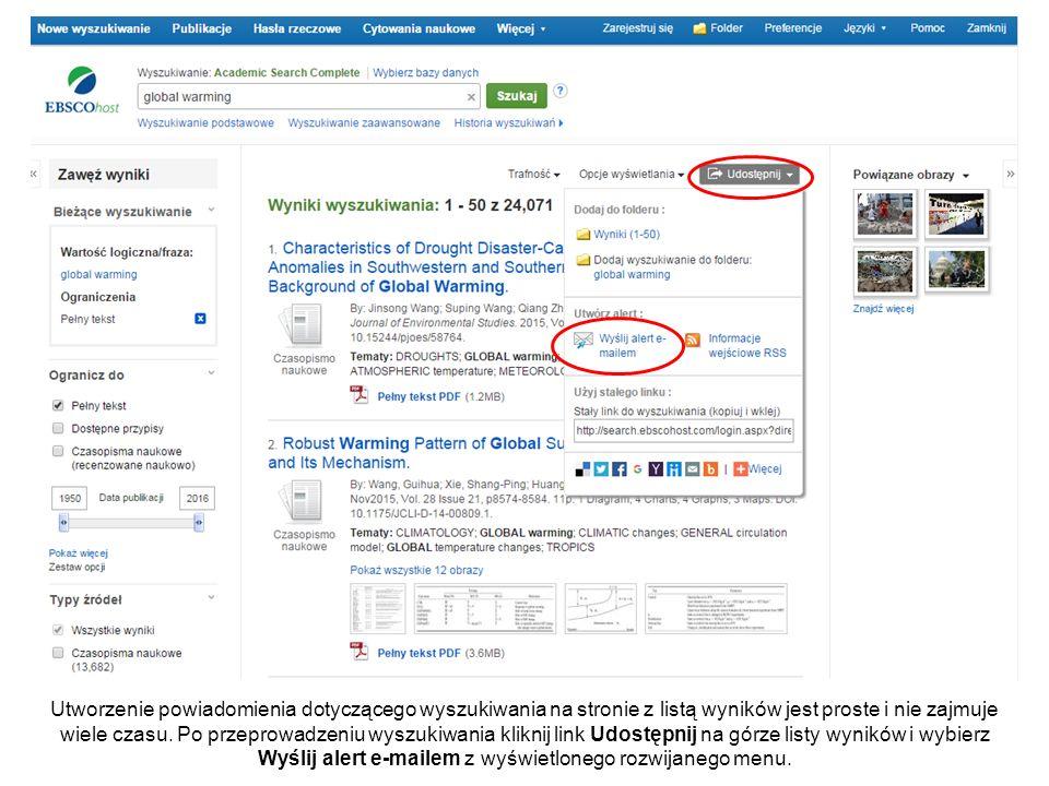 Utworzenie powiadomienia dotyczącego wyszukiwania na stronie z listą wyników jest proste i nie zajmuje wiele czasu.