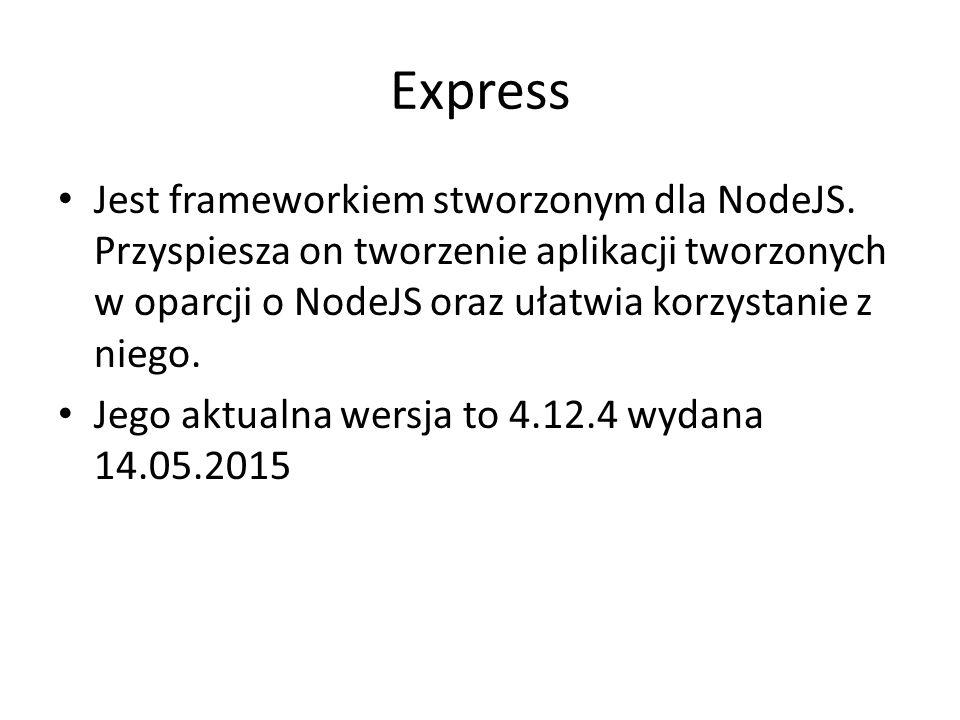Express Jest frameworkiem stworzonym dla NodeJS.