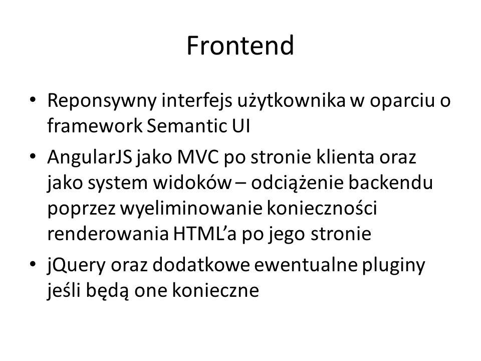 Frontend Reponsywny interfejs użytkownika w oparciu o framework Semantic UI AngularJS jako MVC po stronie klienta oraz jako system widoków – odciążenie backendu poprzez wyeliminowanie konieczności renderowania HTML'a po jego stronie jQuery oraz dodatkowe ewentualne pluginy jeśli będą one konieczne