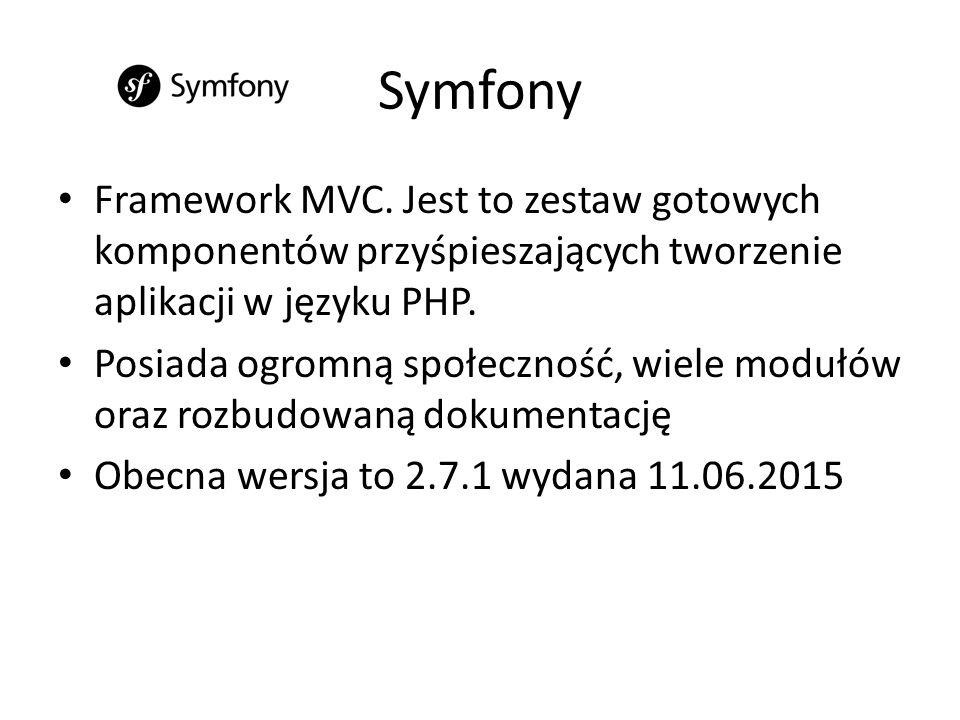 Laravel Bazuje na komponentach Symfony jednak posiada nieco bardziej odmienną od niego strukturę, korzysta z paru innych wzorców oraz komponentów Aktualna jego wersja to 5.1.1 wydana 11.06.2015 roku