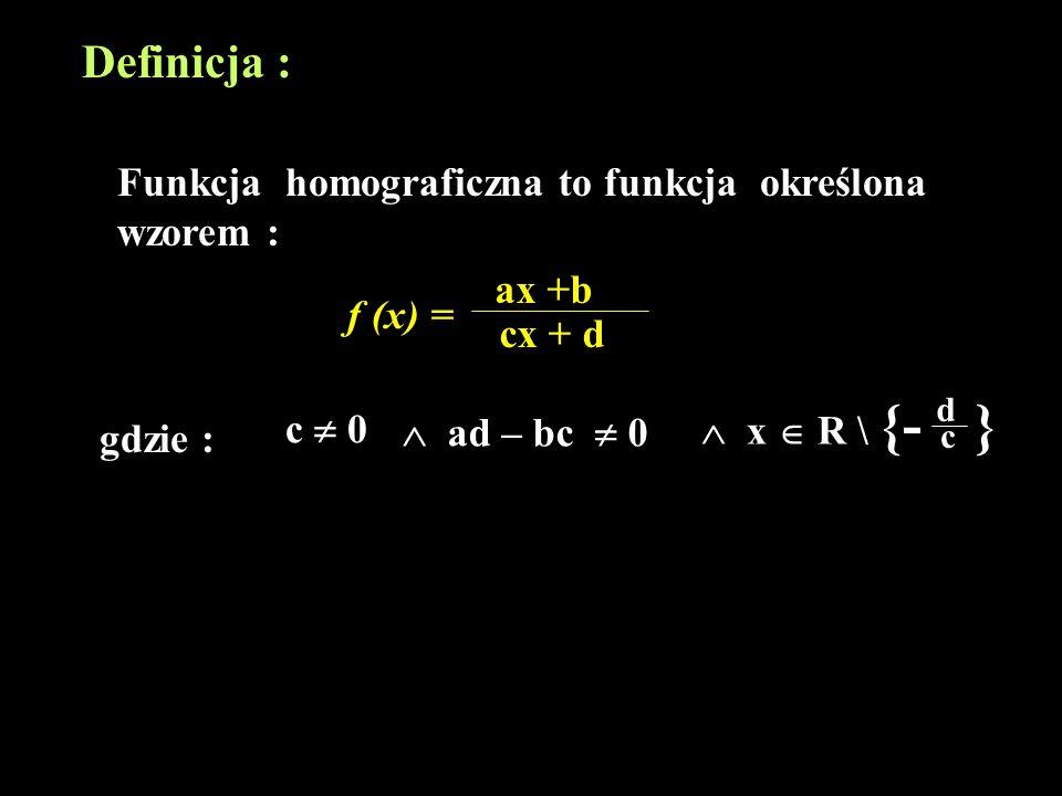 Hiperbola: f (x) = ax +b cx + d Powstaje z przesunięcia wykresu funkcji f (x) = bc - ad c 2 x o wektor [ - d c, a c ] u =