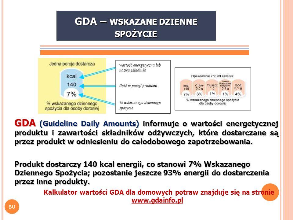 51 S POSÓB WYRAŻENIA I PREZENTACJI INFORMACJI O WARTOŚCI ODŻYWCZEJ W G R OZRZĄDZENIA PE I R (UE) NR 1169/2011 Wartość energetyczna (energia)kJ/kcal Tłuszczg W tymg - Kwasy tłuszczowe nasycone (kwasy nasycone) g -Kwasy tłuszczowe jednonienasyconeg -Kwasy tłuszczowe wielonienasyconeg Węglowodanyg W tymg - Cukryg - Alkohole wielowodorotlenowe (poliole)g - Skrobiag Błonnikg Białkog Sólg Witaminy i składniki mineralneJednostki określone w załączniku do ww.