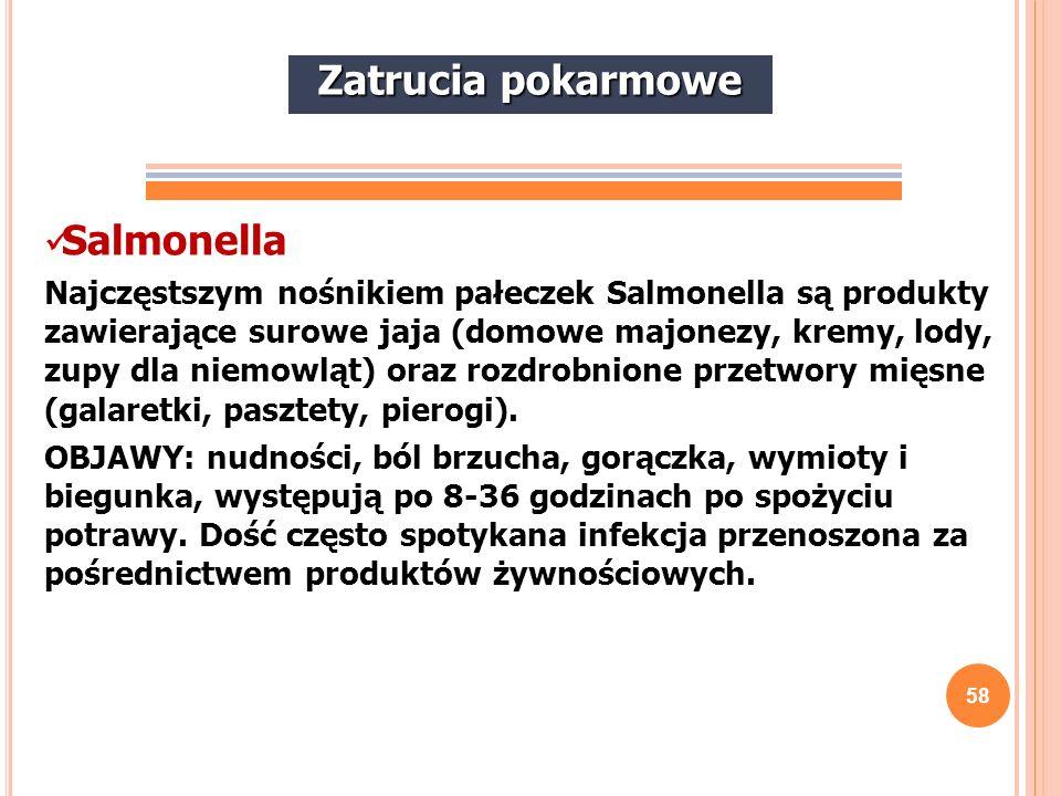 58 Salmonella Najczęstszym nośnikiem pałeczek Salmonella są produkty zawierające surowe jaja (domowe majonezy, kremy, lody, zupy dla niemowląt) oraz r