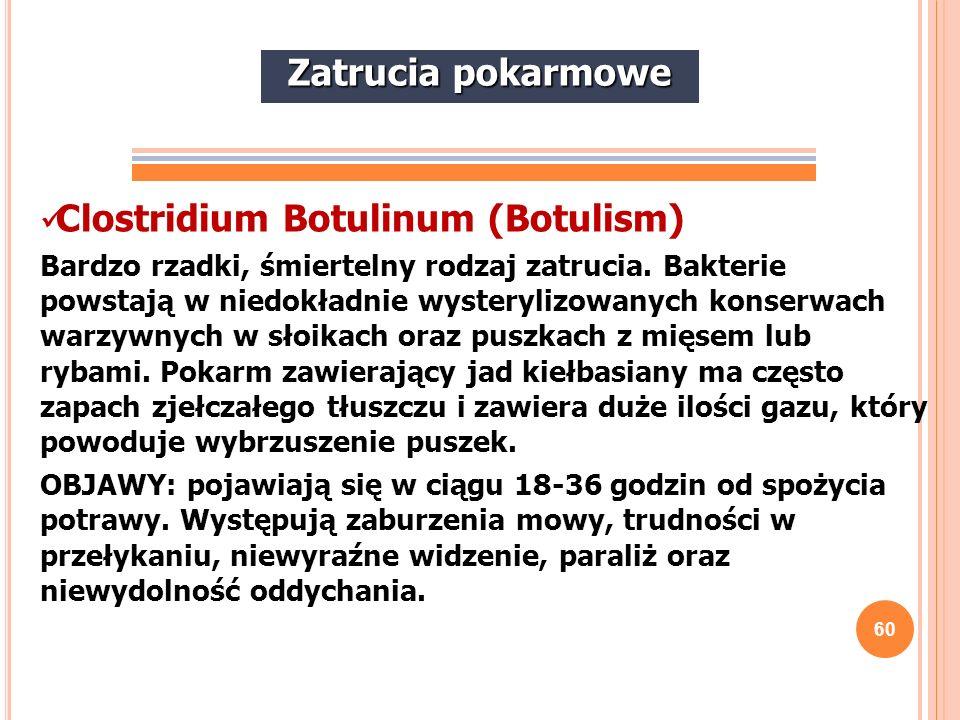 60 Clostridium Botulinum (Botulism) Bardzo rzadki, śmiertelny rodzaj zatrucia. Bakterie powstają w niedokładnie wysterylizowanych konserwach warzywnyc