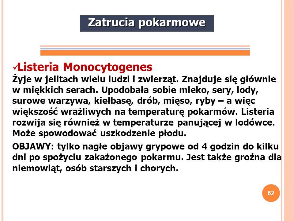 62 Listeria Monocytogenes Żyje w jelitach wielu ludzi i zwierząt. Znajduje się głównie w miękkich serach. Upodobała sobie mleko, sery, lody, surowe wa