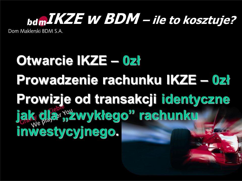 """IKZE w BDM – ile to kosztuje? Otwarcie IKZE – 0zł Prowadzenie rachunku IKZE – 0zł Prowizje od transakcji identyczne jak dla """"zwykłego"""" rachunku inwest"""