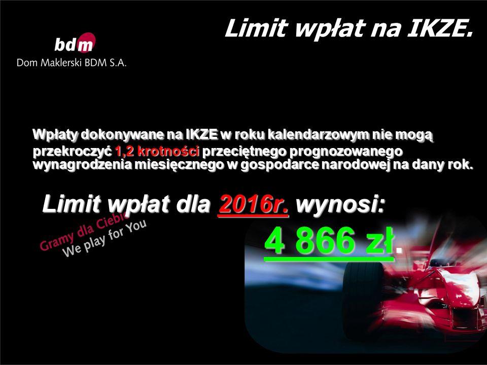 Limit wpłat na IKZE. Wpłaty dokonywane na IKZE w roku kalendarzowym nie mogą przekroczyć 1,2 krotności przeciętnego prognozowanego wynagrodzenia miesi