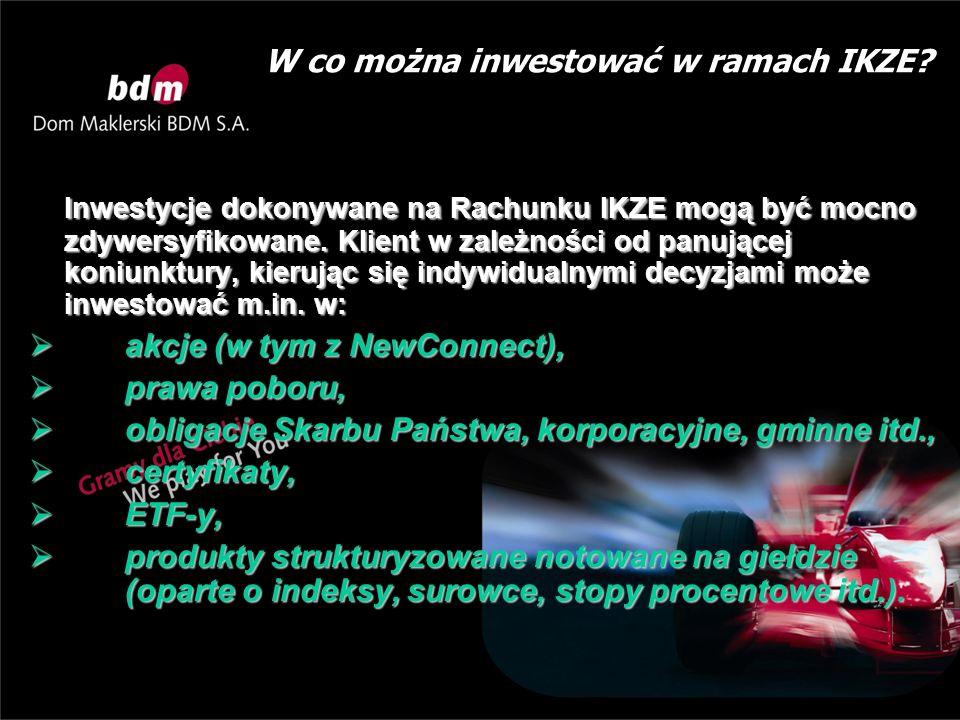 W co można inwestować w ramach IKZE? Inwestycje dokonywane na Rachunku IKZE mogą być mocno zdywersyfikowane. Klient w zależności od panującej koniunkt