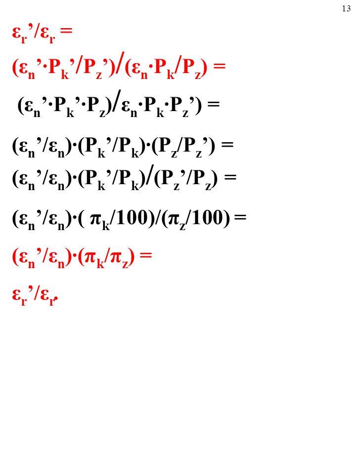 12 A teraz pomyślmy o relacji ε r '/ε r, czyli o zmianie realnego kursu wymiany w pewnym okresie.