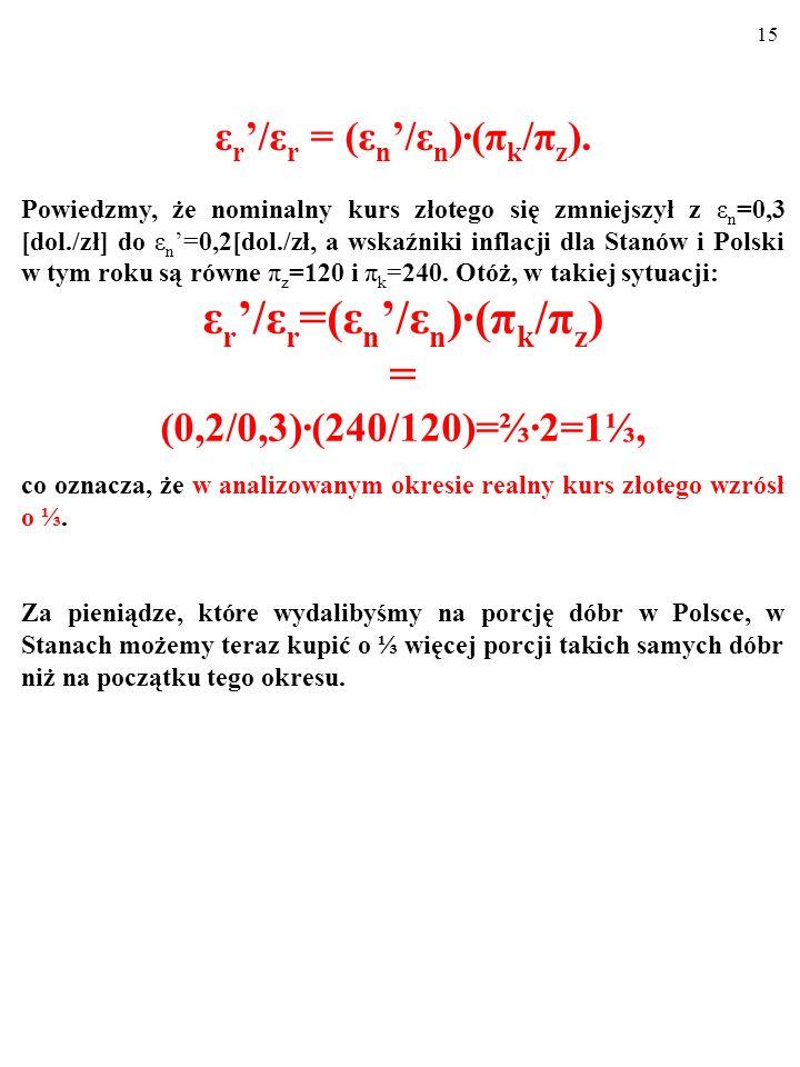 14 ε r '/ε r = (ε n '/ε n )∙(π k /π z ), Znając zmianę kursu nominalnego i indeksy cen, możemy ustalić zmianę kursu realnego w pewnym okresie.