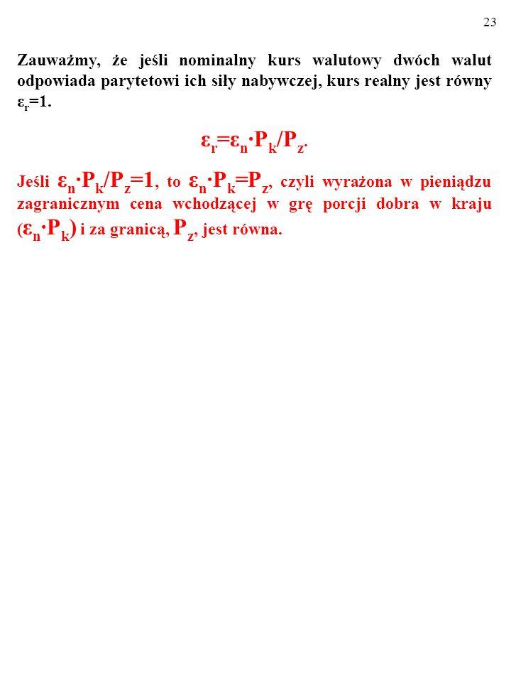 22 Zauważmy, że jeśli nominalny kurs walutowy dwóch walut odpowiada parytetowi ich siły nabywczej, kurs realny jest równy ε r =1.