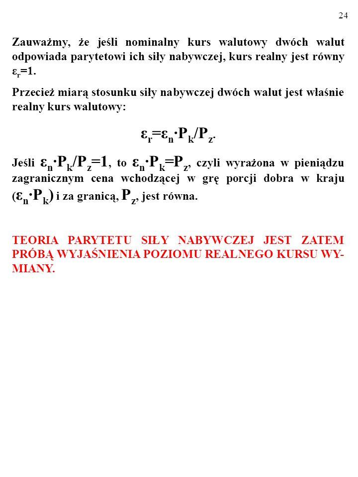 23 Zauważmy, że jeśli nominalny kurs walutowy dwóch walut odpowiada parytetowi ich siły nabywczej, kurs realny jest równy ε r =1.
