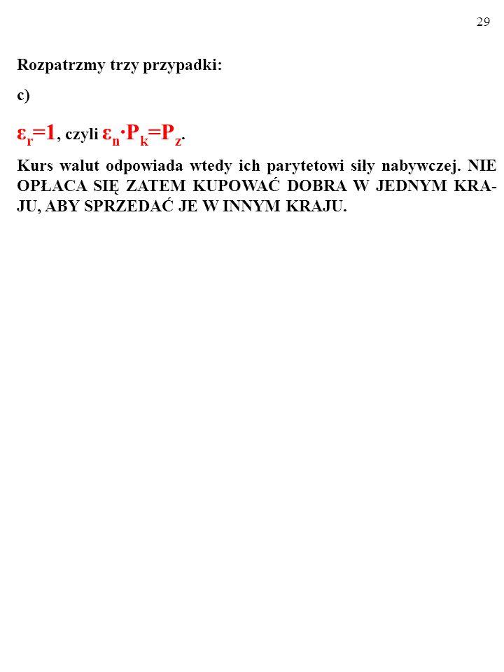 28 Rozpatrzmy trzy przypadki: b) ε r <1, czyli ε n ∙P k <P z.