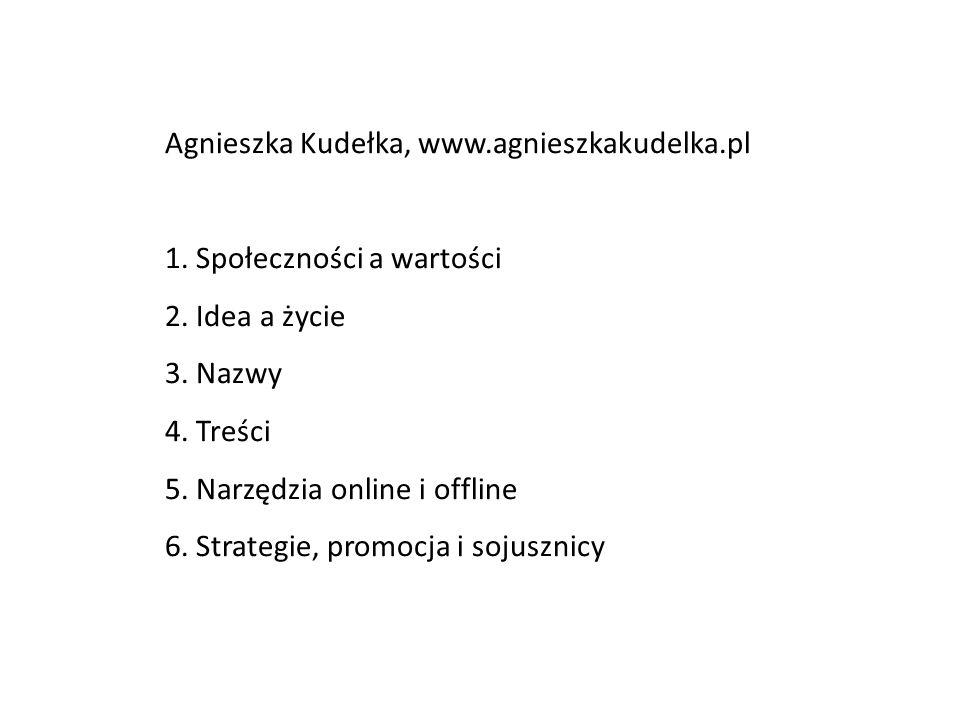 Agnieszka Kudełka, www.agnieszkakudelka.pl 1. Społeczności a wartości 2. Idea a życie 3. Nazwy 4. Treści 5. Narzędzia online i offline 6. Strategie, p