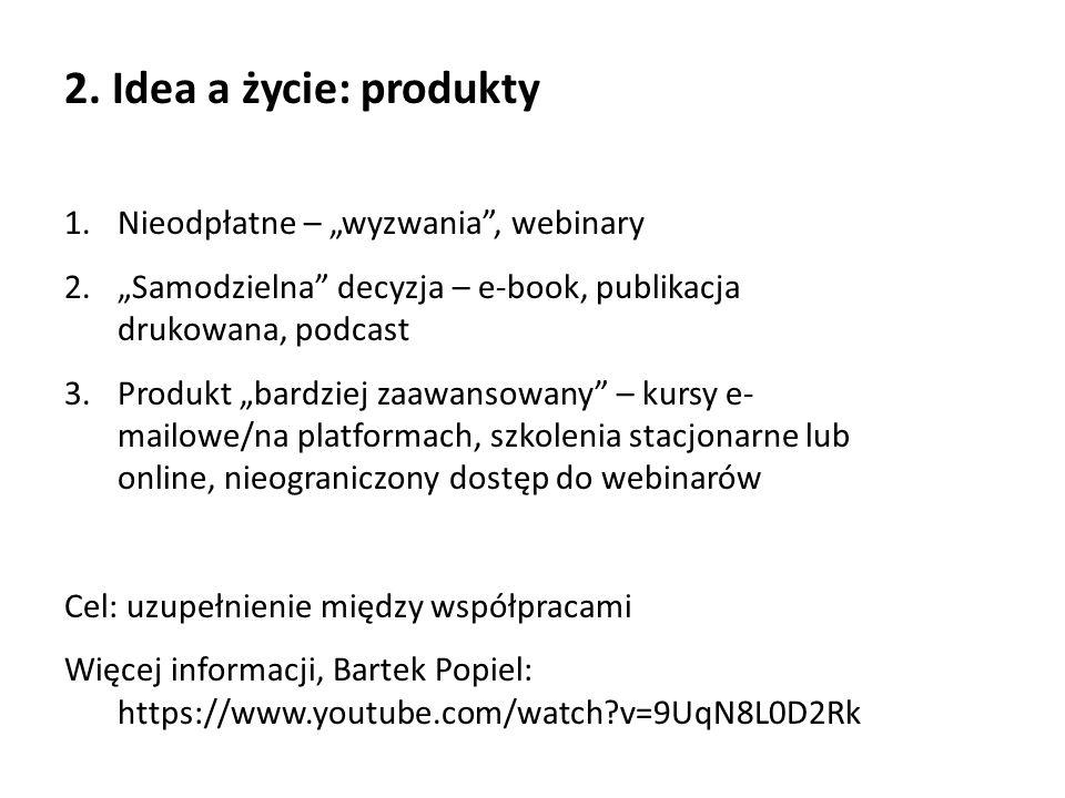 """2. Idea a życie: produkty 1.Nieodpłatne – """"wyzwania"""", webinary 2.""""Samodzielna"""" decyzja – e-book, publikacja drukowana, podcast 3.Produkt """"bardziej zaa"""