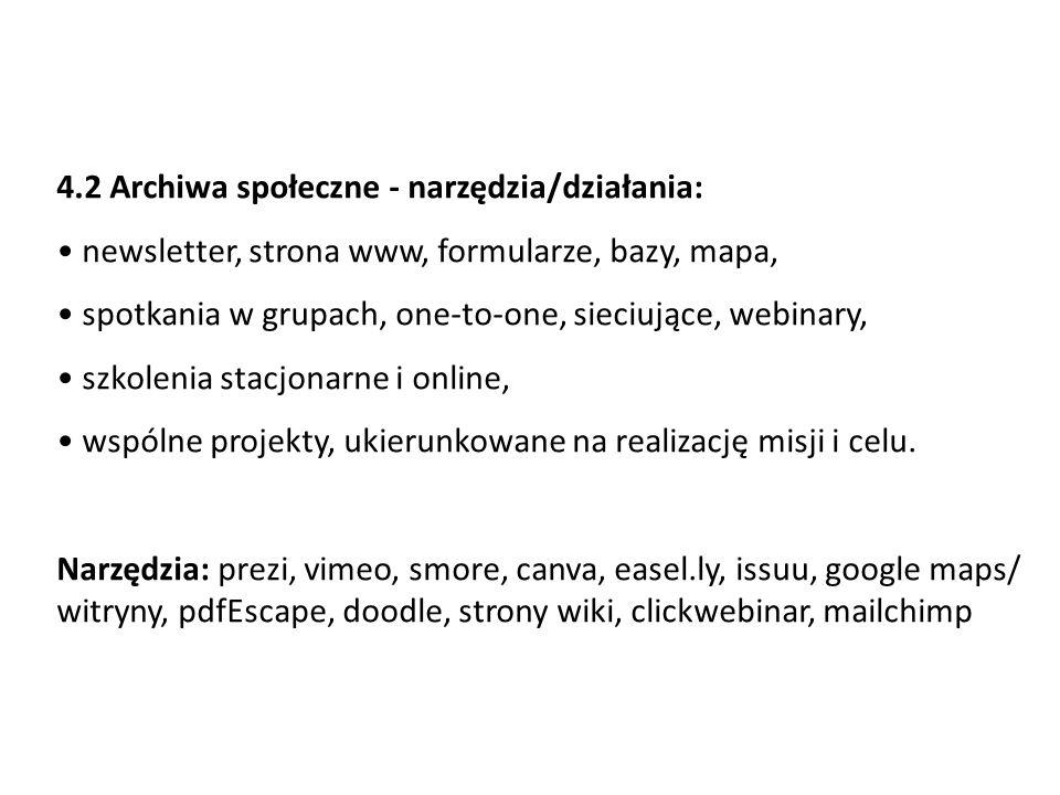 4.2 Archiwa społeczne - narzędzia/działania: newsletter, strona www, formularze, bazy, mapa, spotkania w grupach, one-to-one, sieciujące, webinary, sz