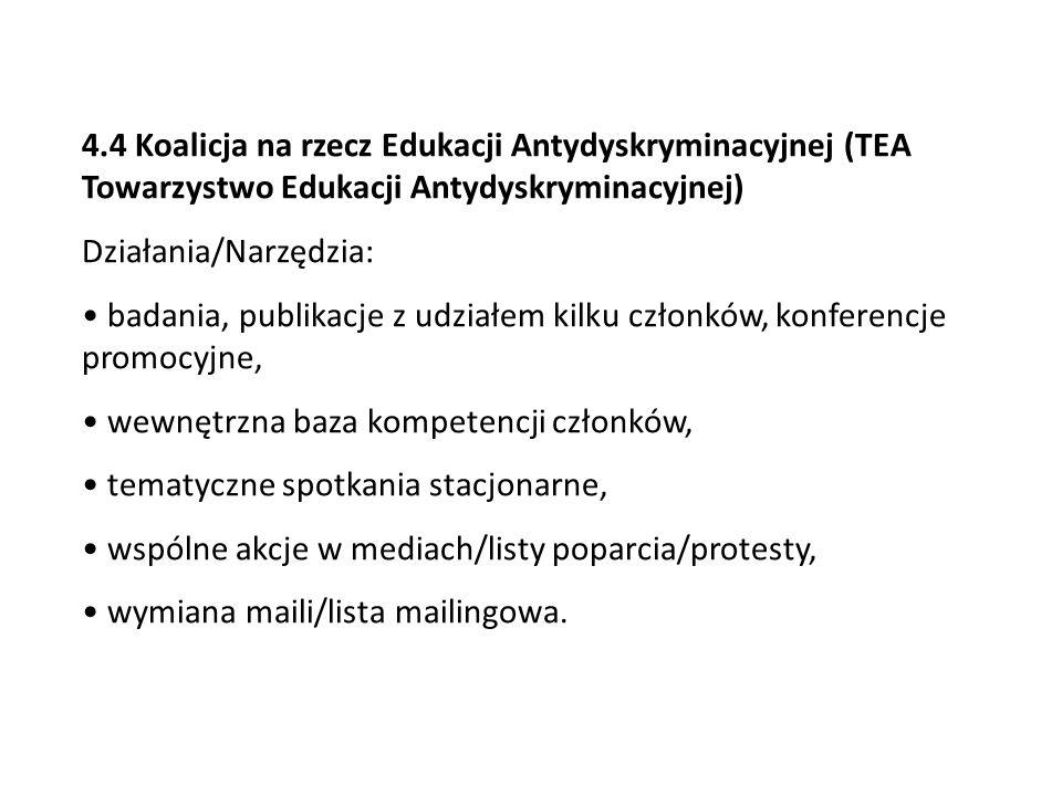 4.4 Koalicja na rzecz Edukacji Antydyskryminacyjnej (TEA Towarzystwo Edukacji Antydyskryminacyjnej) Działania/Narzędzia: badania, publikacje z udziałe