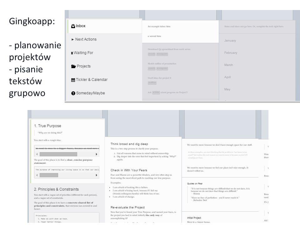 Gingkoapp: - planowanie projektów - pisanie tekstów grupowo