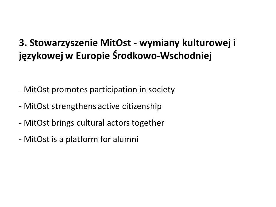 3. Stowarzyszenie MitOst - wymiany kulturowej i językowej w Europie Środkowo-Wschodniej - MitOst promotes participation in society - MitOst strengthen