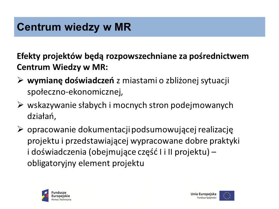 Centrum wiedzy w MR Efekty projektów będą rozpowszechniane za pośrednictwem Centrum Wiedzy w MR:  wymianę doświadczeń z miastami o zbliżonej sytuacji
