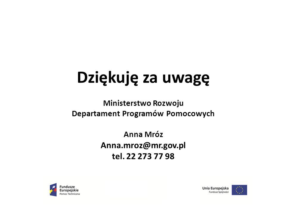 Dziękuję za uwagę Ministerstwo Rozwoju Departament Programów Pomocowych Anna Mróz Anna.mroz@mr.gov.pl tel. 22 273 77 98
