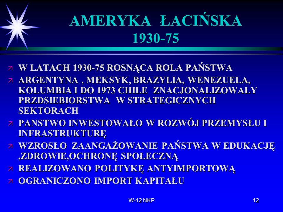 W-12 NKP12 AMERYKA ŁACIŃSKA 1930-75 ä W LATACH 1930-75 ROSNĄCA ROLA PAŃSTWA ä ARGENTYNA, MEKSYK, BRAZYLIA, WENEZUELA, KOLUMBIA I DO 1973 CHILE ZNACJON