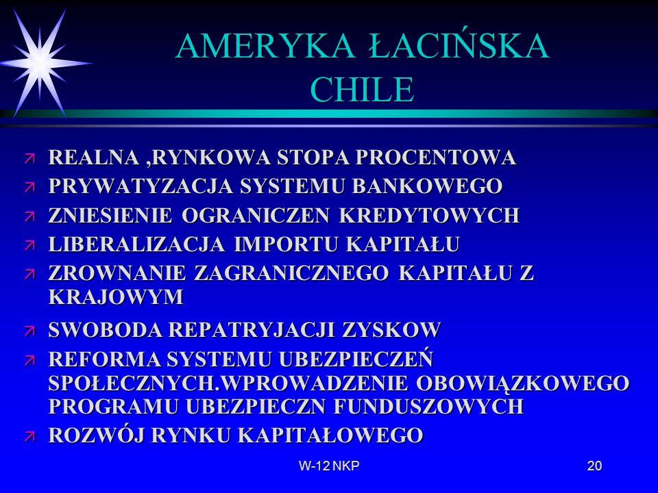 W-12 NKP20 AMERYKA ŁACIŃSKA CHILE ä REALNA,RYNKOWA STOPA PROCENTOWA ä PRYWATYZACJA SYSTEMU BANKOWEGO ä ZNIESIENIE OGRANICZEN KREDYTOWYCH ä LIBERALIZAC