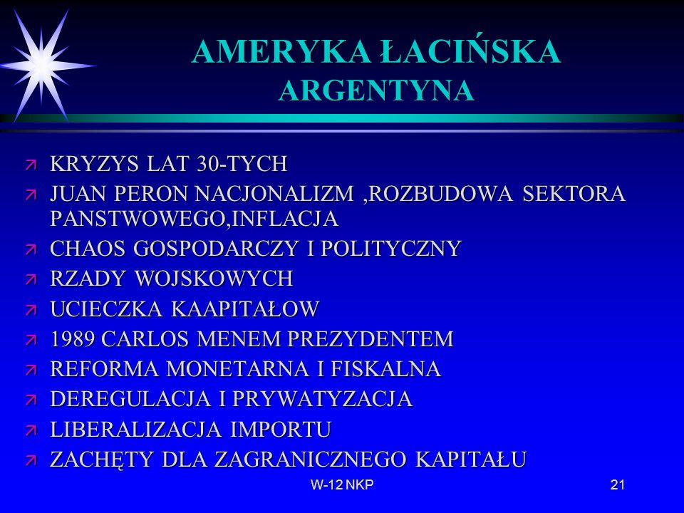 W-12 NKP21 AMERYKA ŁACIŃSKA ARGENTYNA ä KRYZYS LAT 30-TYCH ä JUAN PERON NACJONALIZM,ROZBUDOWA SEKTORA PANSTWOWEGO,INFLACJA ä CHAOS GOSPODARCZY I POLIT