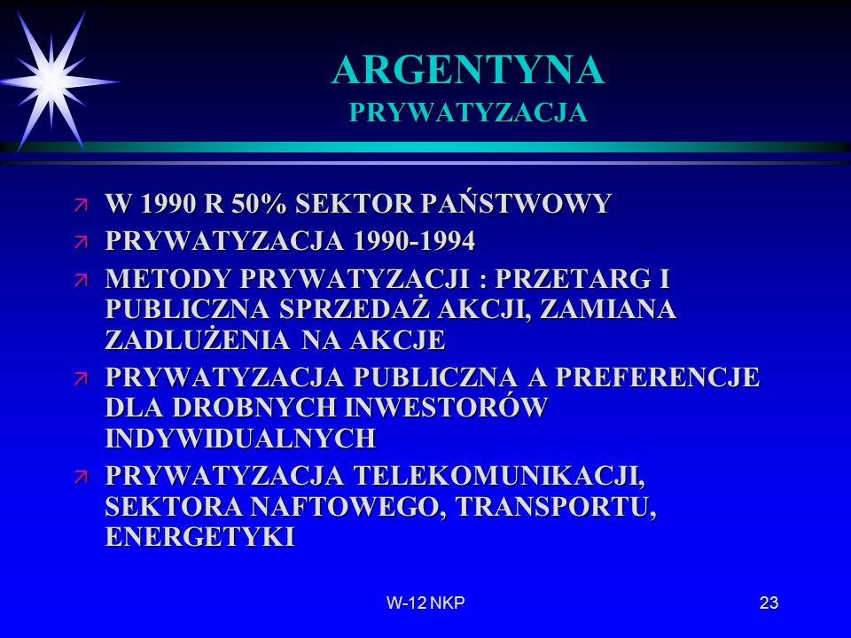 W-12 NKP23 ARGENTYNA PRYWATYZACJA ä W 1990 R 50% SEKTOR PAŃSTWOWY ä PRYWATYZACJA 1990-1994 ä METODY PRYWATYZACJI : PRZETARG I PUBLICZNA SPRZEDAŻ AKCJI