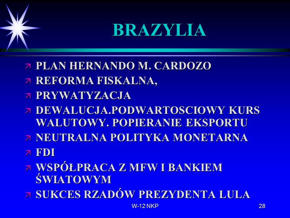 W-12 NKP28 BRAZYLIA ä PLAN HERNANDO M. CARDOZO ä REFORMA FISKALNA, ä PRYWATYZACJA ä DEWALUCJA.PODWARTOSCIOWY KURS WALUTOWY. POPIERANIE EKSPORTU ä NEUT