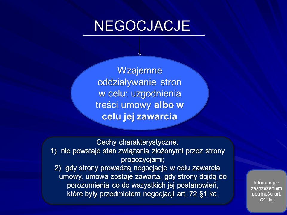 NEGOCJACJE Wzajemne oddziaływanie stron w celu: uzgodnienia treści umowy albo w celu jej zawarcia Cechy charakterystyczne: 1)nie powstaje stan związania złożonymi przez strony propozycjami; 2)gdy strony prowadzą negocjacje w celu zawarcia umowy, umowa zostaje zawarta, gdy strony dojdą do porozumienia co do wszystkich jej postanowień, które były przedmiotem negocjacji art.
