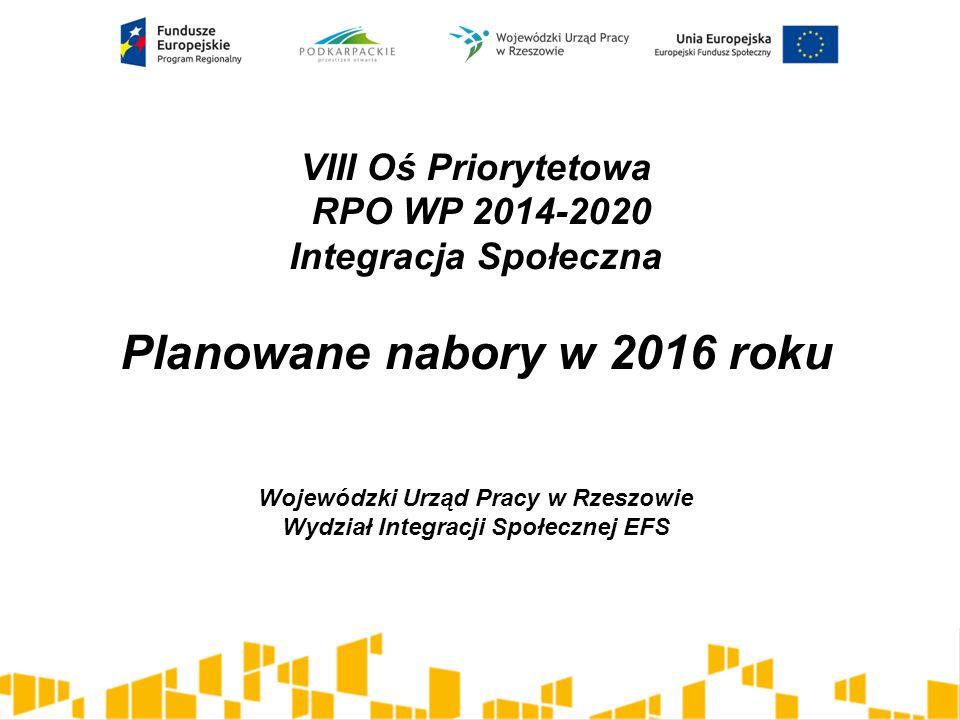 VIII Oś Priorytetowa RPO WP 2014-2020 Integracja Społeczna Planowane nabory w 2016 roku Wojewódzki Urząd Pracy w Rzeszowie Wydział Integracji Społecznej EFS