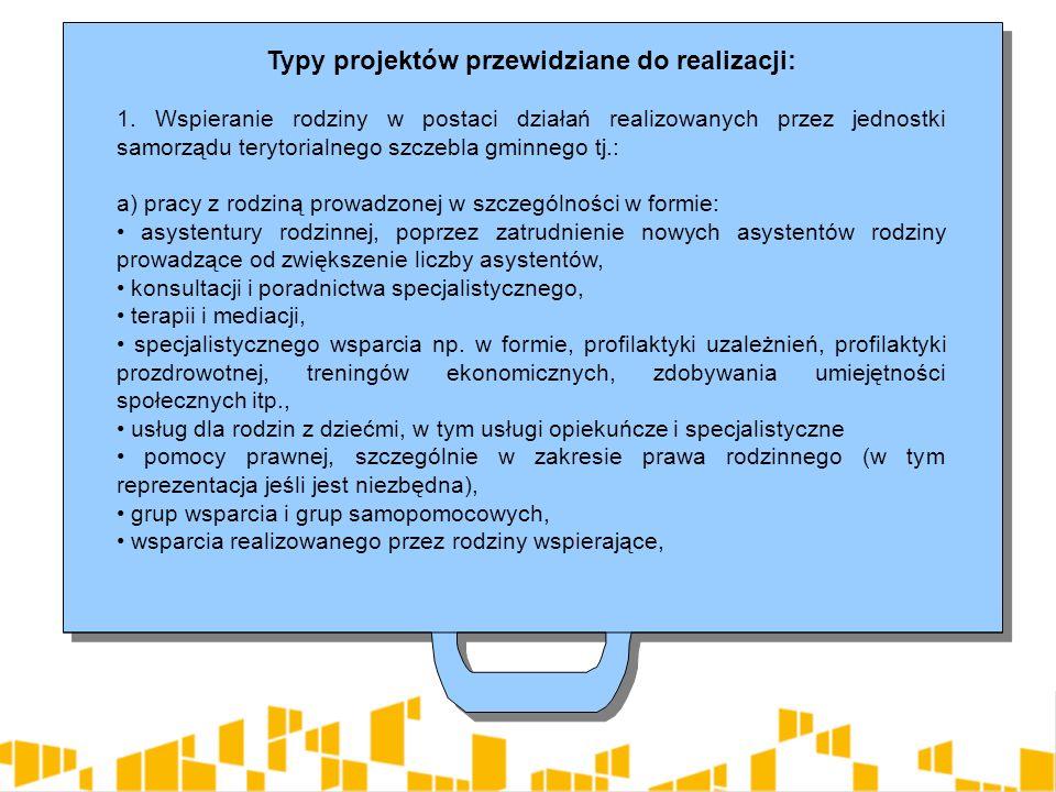 Typy projektów przewidziane do realizacji: 1.