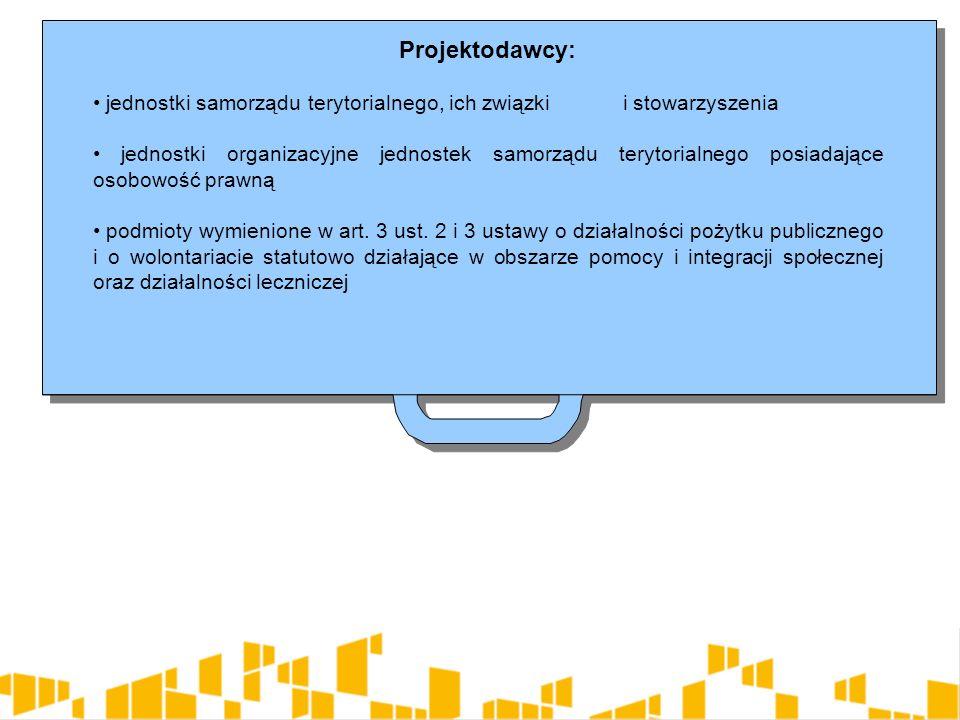 Projektodawcy: jednostki samorządu terytorialnego, ich związki i stowarzyszenia jednostki organizacyjne jednostek samorządu terytorialnego posiadające osobowość prawną podmioty wymienione w art.