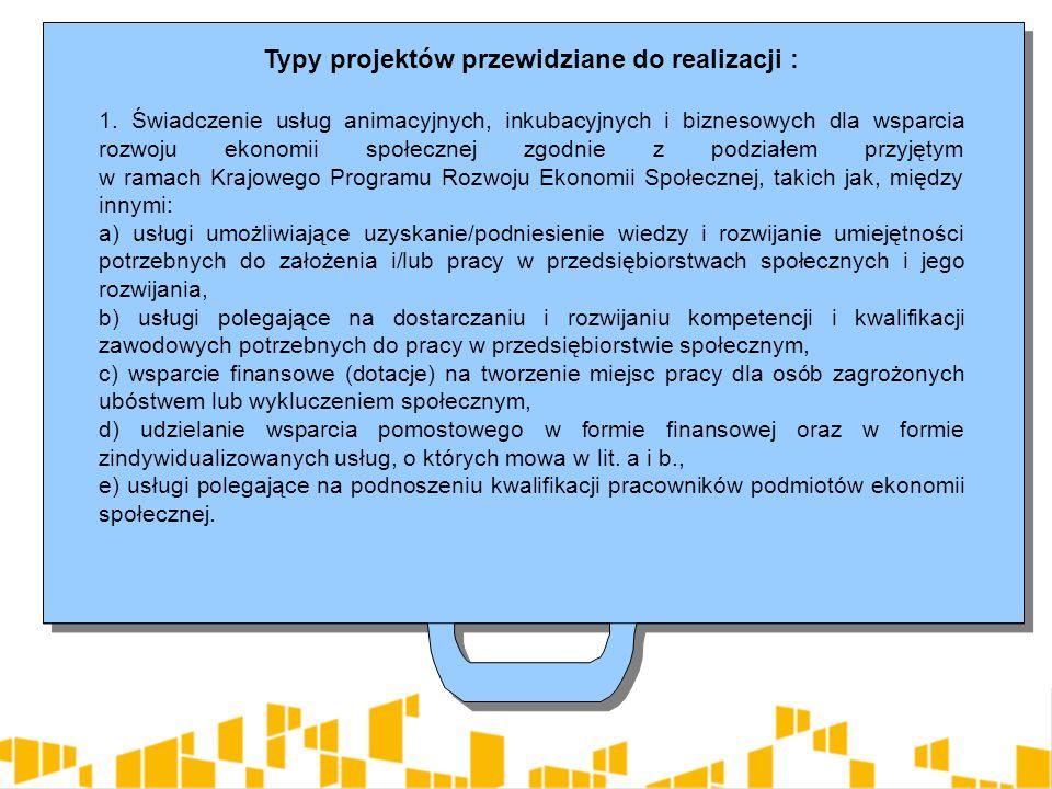 Typy projektów przewidziane do realizacji : 1.